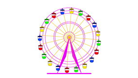 Colorful ferris wheel on a white background. stock video footage