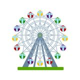Colorful ferris wheel on white background, vector illustration. Colorful ferris wheel, vector illustration Royalty Free Stock Images