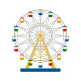 Colorful ferris wheel on white background, vector illustration. Colorful icon of  ferris wheel on white background, vector illustration Royalty Free Stock Photography