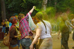 Colorful Festival HOLI in Moscow, Park Fili, 29.06.2014. People laughing at the festival of paints - one of the most colorful the Indian festival, Bengali new Stock Photography