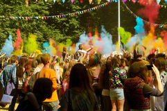 Colorful Festival HOLI in Moscow, Park Fili, 29.06.2014. People laughing at the festival of paints - one of the most colorful the Indian festival, Bengali new Stock Image