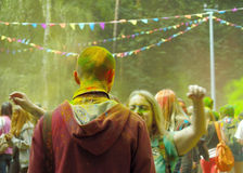 Colorful Festival HOLI in Moscow, 29.06.2014. People laughing at the festival of paints - one of the most colorful the Indian festival, Bengali new year. People Royalty Free Stock Images