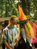 Colorful Festival HOLI in Moscow, 29.06.2014. People laughing at the festival of paints - one of the most colorful the Indian festival, Bengali new year. People Stock Photos