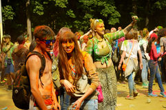 Colorful Festival HOLI in Moscow, 29.06.2014. People laughing at the festival of paints - one of the most colorful the Indian festival, Bengali new year. People Stock Image