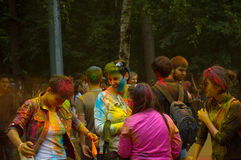 Colorful Festival HOLI in Moscow, 29.06.2014. People laughing at the festival of paints - one of the most colorful the Indian festival, Bengali new year. People Stock Images