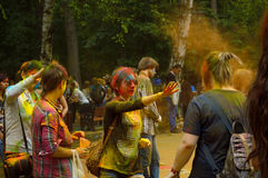 Colorful Festival. People laughing at the festival of paints - one of the most colorful the Indian festival, Bengali new year. People sprinkle each other dry Royalty Free Stock Photography