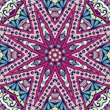 Colorful festival star 8 ray mandala seamless pattern. Tribal indian ethnic seamless design. Festive colorful mandala pattern. . Geometric mandala frame border stock illustration