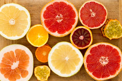 Colorful festive assortment of citrus fruit Stock Photos