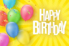 Colorful festive balloons on a cartoon yellow background with halftone and rays. Inscription Happy birthday. Burst of confetti. Gr. Eeting card. Vector Royalty Free Stock Image