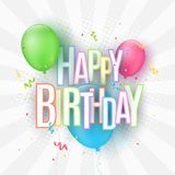 Colorful festive balloons on a light background. The inscription with a Happy Birthday from paper multicolored letters. Burst of c. Onfetti. Greeting card Stock Images