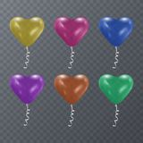 Colorful festive balloons of shape of heart on transparent background. Vector illustration EPS 10. Colorful festive balloons of shape of heart on transparent Royalty Free Stock Images