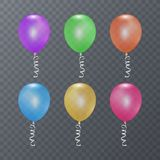 Colorful festive balloons on transparent background. Vector illustration EPS 10 Royalty Free Stock Photo