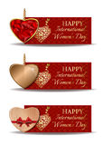 Colorful festive banners set for International Womens Day. Vector illustration Royalty Free Stock Images
