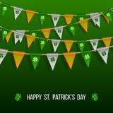 Colorful festive bunting with clover. On green background. Irish holiday - happy Saint Patricks Day backdrop with garland flags. Vector illustration for Royalty Free Stock Photo