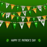 Colorful festive bunting with clover. On green background. Irish holiday - happy Saint Patricks Day backdrop with garland flags. Vector illustration for Stock Photos