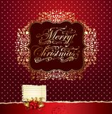 Colorful festive Christmas card. With decorated background and ornamental form with congratulations Stock Photography
