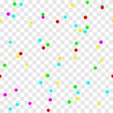 Colorful festive confetti on transparent seamless background. Vector holiday illustration Stock Image