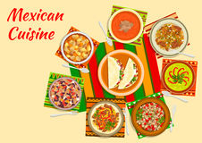 Colorful festive dishes of mexican cuisine symbol. Mexican taco salad icon served in the center of a table with tomato soup, beef fajitas, bean stew chilli con Stock Photo