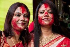Colorful festive faces Stock Photos