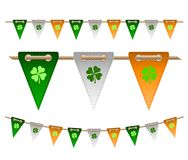 Colorful festive flags with clovers. For Irish holiday, celebration party. Vector illustration for greeting card, poster, banner Royalty Free Stock Images