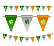 Colorful festive flags with clovers. For Irish holiday, celebration party. Vector illustration for greeting card, poster, banner Stock Photos
