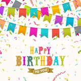Birthday greeting card with flags garland and confetti Stock Image