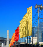 Colorful festive flags during a holiday Royalty Free Stock Photography