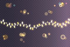 Colorful Festive Garland Decoration Shiny Lights. Colorful festive garland decoration with shiny lights in wave shape vector illustration on transparent Stock Images