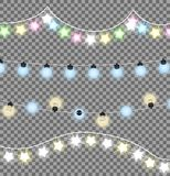 Colorful Festive Garlands Vector Illustration. Colorful festive garlands set of four decorations with multicolored shiny lights in wave shapes. Vector Stock Photo