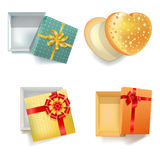 Colorful festive gift boxes in bright wrappers with ribbon. Dotted with gold bow, heart-shaped with stars, golden with red decoration and checkered orange Royalty Free Stock Images