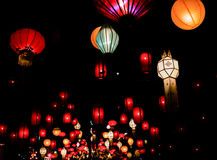 Colorful festive hanging lanterns. Decorated the night Stock Photos