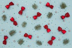 Christmas pattern on blue holiday background Royalty Free Stock Photo
