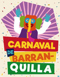 Colorful and Festive Promotional Poster with Marimonda for Barranquilla`s Carnival, Vector Illustration Stock Photos