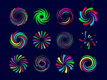 Colorful festive spirals twist and swirls fireworks set. Vector illustration Stock Photos