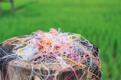 Colorful fiber cloth. On wood Stock Images