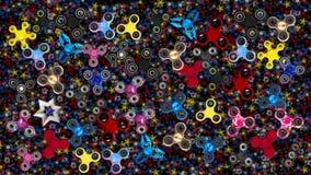 Colorful fidget finger spinner background stock footage