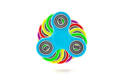 Colorful fidget spinner. Fidget spinner with different colors. Very popular toy for distress relief. 3d render illustration Stock Photo