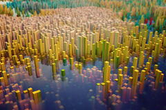 Colorful field of cube columns that make up the abstract entity. 3D render image Royalty Free Stock Photos