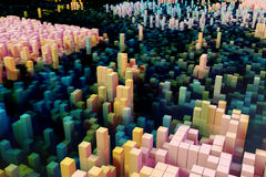 Colorful field of cube columns that make up the abstract entity. 3D render image Royalty Free Stock Images