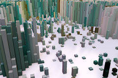 Colorful field of cube columns that make up the abstract entity. 3D render image Stock Photos
