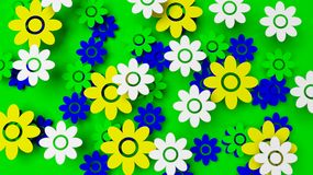 Colorful field with flowers. On green background Royalty Free Stock Images