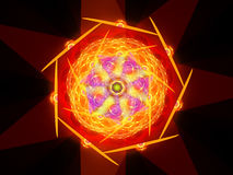 Colorful fiery magical mandala in space. Computer generated abstract background, 3D render Stock Photo