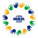 Colorful fifteen hand print logo using Brazil flag colors. Royalty Free Stock Image