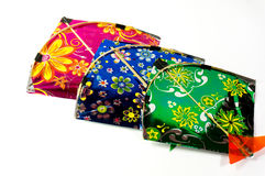 Colorful fighting kites  on white Royalty Free Stock Photography