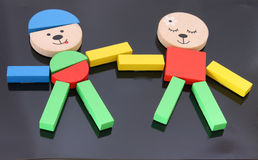 Colorful figures made from set of toy blocks Royalty Free Stock Photo