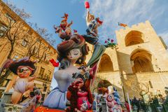 Falla in city centre during national Festival of Fallas. Valencia, Spain, March 16, 2018 Royalty Free Stock Image