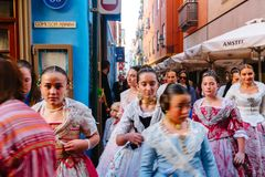 Young womans in costumes in city centre during national Festival of Fallas. Valencia, Spain, March 16, 2018 stock images