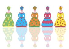 Colorful figures of Russian women royalty free illustration