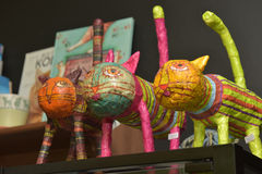 Colorful figurines of cats souvenirs from the museum Royalty Free Stock Image