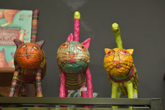 Colorful figurines of cats souvenirs from the museum Royalty Free Stock Photography